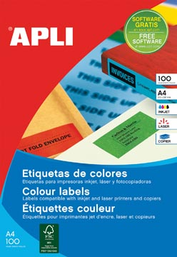 Apli Gekleurde etiketten Ft 105 x 148 mm (b x h), rood, 80 stuks, 4 per blad, etui van 20 blad