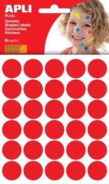 Apli Kids stickers, cirkel diameter 20 mm, blister met 180 stuks, rood