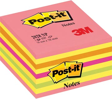Post-it Notes, ft 76 x 76 mm, geassorteerde kleuren, blok van 450 vel