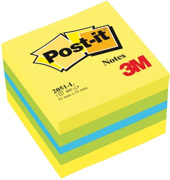Post-it Notes, ft 51 x 51 mm, geassorteerde kleuren, blok van 400 vel