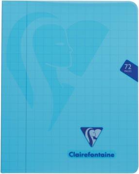 Clairefontaine schrift mimesys voor ft A5, 72 bladzijden, kaft in PP, geruit 10 mm, geassorteerde kleuren