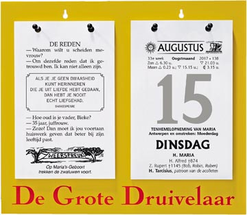 Dagblokkalender De Grote Druivelaar, ft A5, Nederlandstalig, 2022