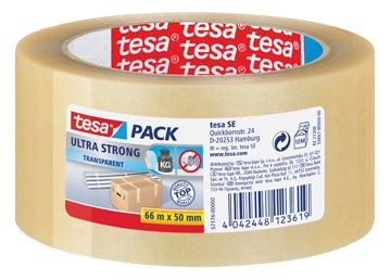 Tesapack Ultra Strong, ft 50 mm x 66 m, PVC, transparant