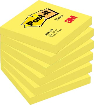 Post-it Notes, ft 76 x 76 mm, neongeel, blok van 100 vel