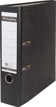 Pergamy ordner, voor ft A4, uit karton, rug van 8 cm, gewolkt zwart