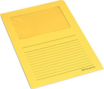 Pergamy L-map met venster, pak van 100 stuks, geel