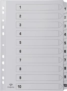 Pergamy tabbladen met indexblad, ft A4, 11-gaatsperforatie, karton, set 1-10