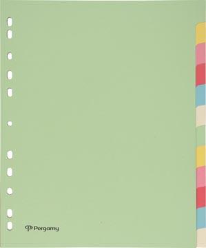 Pergamy tabbladen ft A4 maxi, 11-gaatsperforatie, karton, geassorteerde pastelkleuren, 12 tabs
