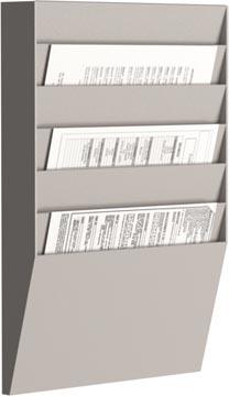 Paperflow sorteerrek, 6 vakken, horizontaal, grijs