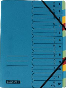 Class'ex sorteermap A-Z en 1-12, blauw met 12 tabs in geassorteerde kleuren
