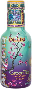 Arizona ijsthee Green Tea Plum, flesje van 500 ml, pak van 6 stuks