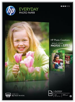 HP Everyday fotopapier ft A4, 200 g, pak van 100 vel, glanzend
