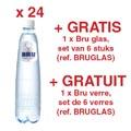 ACTIE BRU: 2 x lichtsprankelend water, 50 cl, 24 stuks (ref. 05180) + GRATIS 1 x Bru glas, 6 stuks